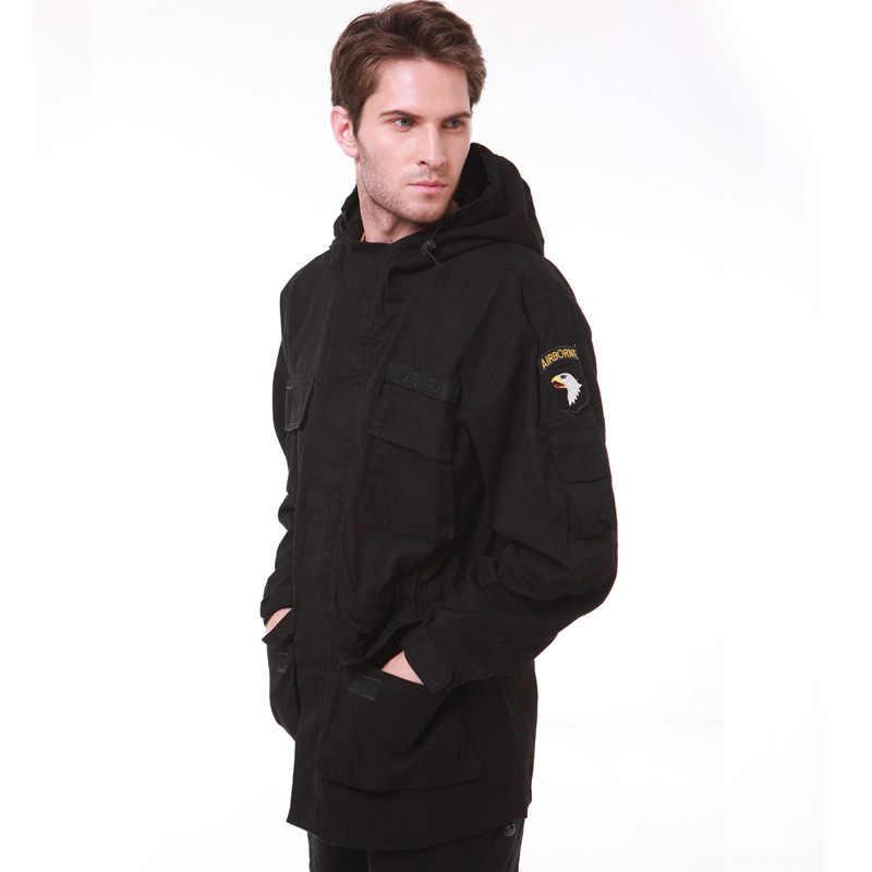 軍服男性の M65 トレンチ脂肪迷彩スリム腰古典キルト 101st 空挺力パーカージャケットコート