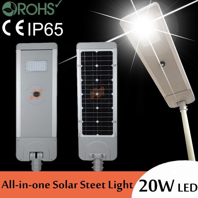 20W infrared sensor brightness sub-regulation 40W solar panel 16AH battery power integrated All-in-one LED solar street light цена