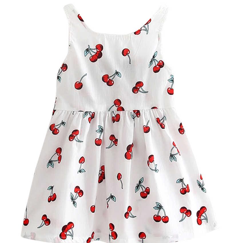 Filles d'été robes enfants coton o-cou court dormeuse cerise impression arc décor dos nu a-ligne princesse mignon robes enfant vêtements
