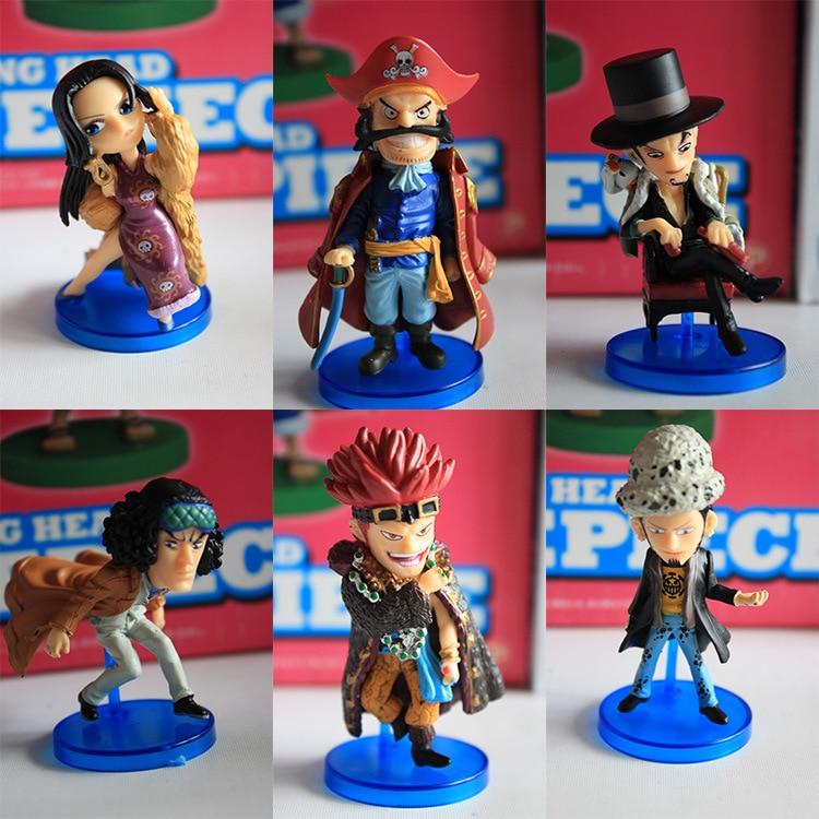 Hot NEW 6pcs/set 8cm One piece Boa Hancock Kuzan Gol D Roger Trafalgar Law Action Figure toys doll Christmas gift one set 4 pcs 95mm