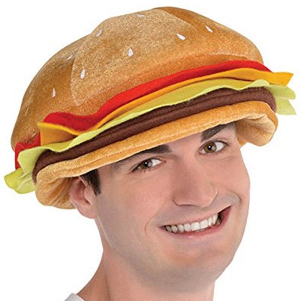 NOVELTY FOOD PARTY HAT CHEESEBURGER ADULTS FUNNY FANCY DRESS PROPS HEADWEAR