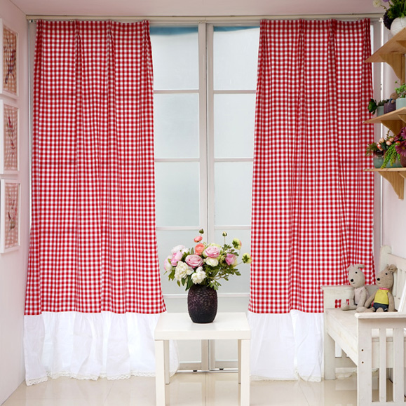 red white plaid living room curtain yarn dyed curtain -in Curtains ...