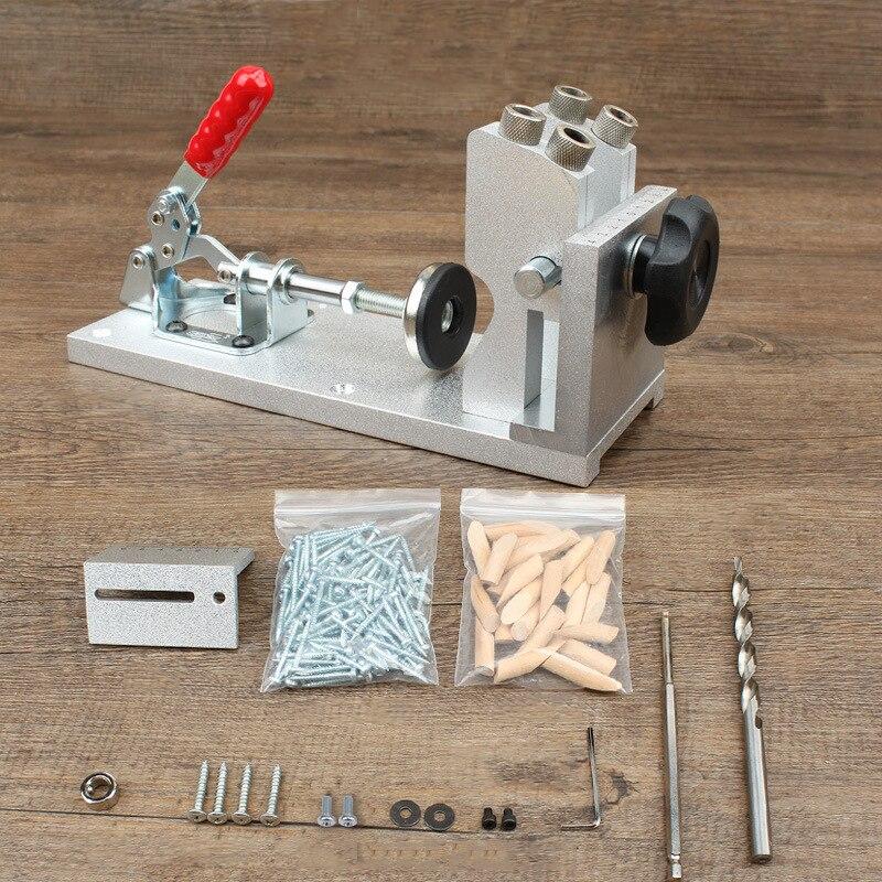 ALLSOME Carpintaria Buraco Bolso Kit de Sistema de Guia de Carpinteiro Jig Furo Inclinado Broca Kit de Ferramentas de Acampamento Base 9.5mm Broca HT174