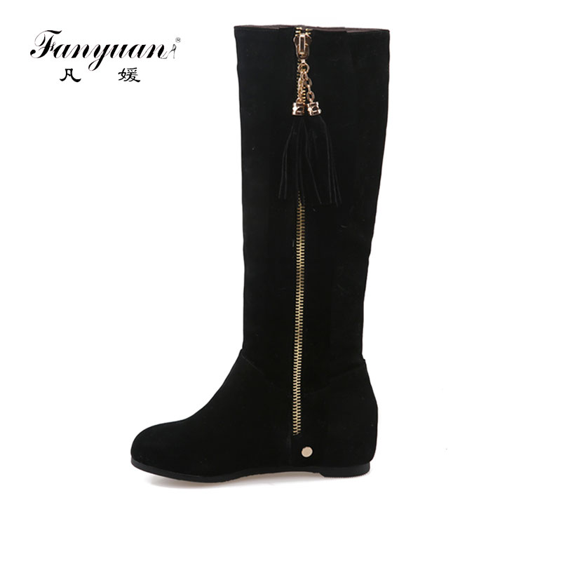 Fanyuan 2018 Woman Russia winter snow boots thick fur inside platform shoes woman wedges heel women ankle boots female shoes стоимость