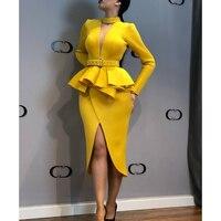 Sashes choker bodycon dress Women long sleeve slit ruffle yellow dresses Summer 2019 Elegant ladies party dress vestido mujer