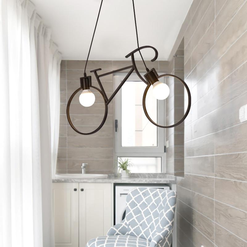 Modern Bicycle Pendant Light Children Room Pendant Lamp Black White Bike  Droplight Bedroom Light Fixture Restaurant Avize  In Pendant Lights From  Lights ...