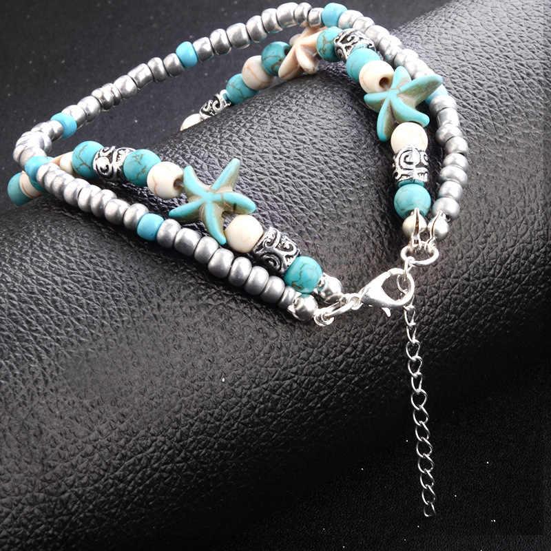 W stylu Vintage Shell koraliki rozgwiazda żółw morski wisiorek obrączki dla kobiet nowy wielowarstwowy łańcuszek na kostkę stóp bransoletka Handmade czeski biżuteria