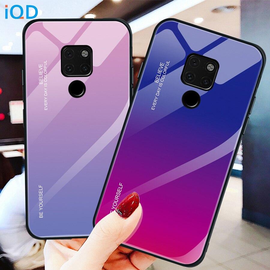 in vendita c17af c957e US $2.3 30% OFF|IQD Glass Phone Case For Huawei P20 Mate 20 Lite 10 pro  Honor 8X max Glory 9 10 Tempered Glass Back Cover TPU Bumper Housing-in  Phone ...