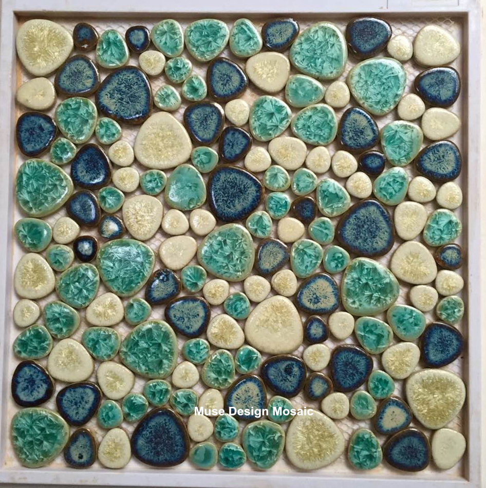 Us 199 99 Glossy Fresh Green Blue White Glazed Pebble Mosaic Tile Bathroom Pool Wall Tile Floor Tile Outdoor Interior Decor 70 Years In Wallpapers