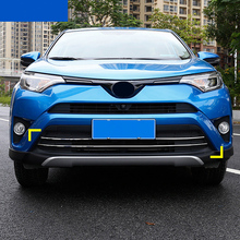 KOUVI 2pcs/set Stainless Steel Front Grille Trim Garnish Bumper Protector Car styling Fit For Toyota RAV4 RAV 4 2016 Accessories