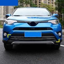 KOUVI 2pcs/set Stainless Steel Front Grille Trim Garnish Bumper Protector Car styling Fit For Toyota RAV4 RAV 4 2016 Accessories