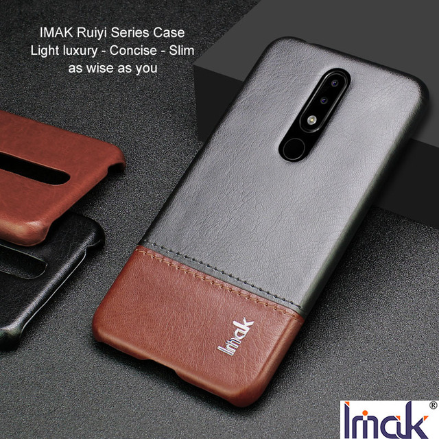 low priced 0a2ac 1f896 US $7.99 20% OFF|IMAK Ruiyi Series Luxury Skin PU Leather Case for Nokia  5.1 Plus X5 Sirocco Hard PC Back Cover Quality for Nokia x5 Luxury Slim-in  ...