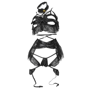 Image 5 - إمرأة مثير تأثيري حلي شيونغسام الملابس الداخلية Strappy مشد ليلة ملابس خاصة ملابس داخلية فستان أبيض أسود المثيرة مجموعة للحزب