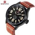 2016 mens relógios top de luxo da marca naviforce esporte militar relógios homens de couro de quartzo dos homens assistir à prova d' água relogio masculino