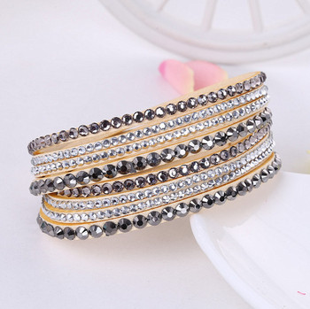 Crystal Multi-Layer Wrap Bracelets Bracelets Jewelry New Arrivals Women Jewelry Metal Color: beige
