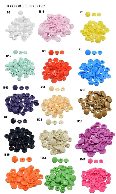พลาสติก Snap Fasteners T5 12 มม. 200/1000 ชุด KAM Sew บนปุ่ม Snap พลาสติกขนาด 20 รอบ DIY เย็บผ้าทารก Bib