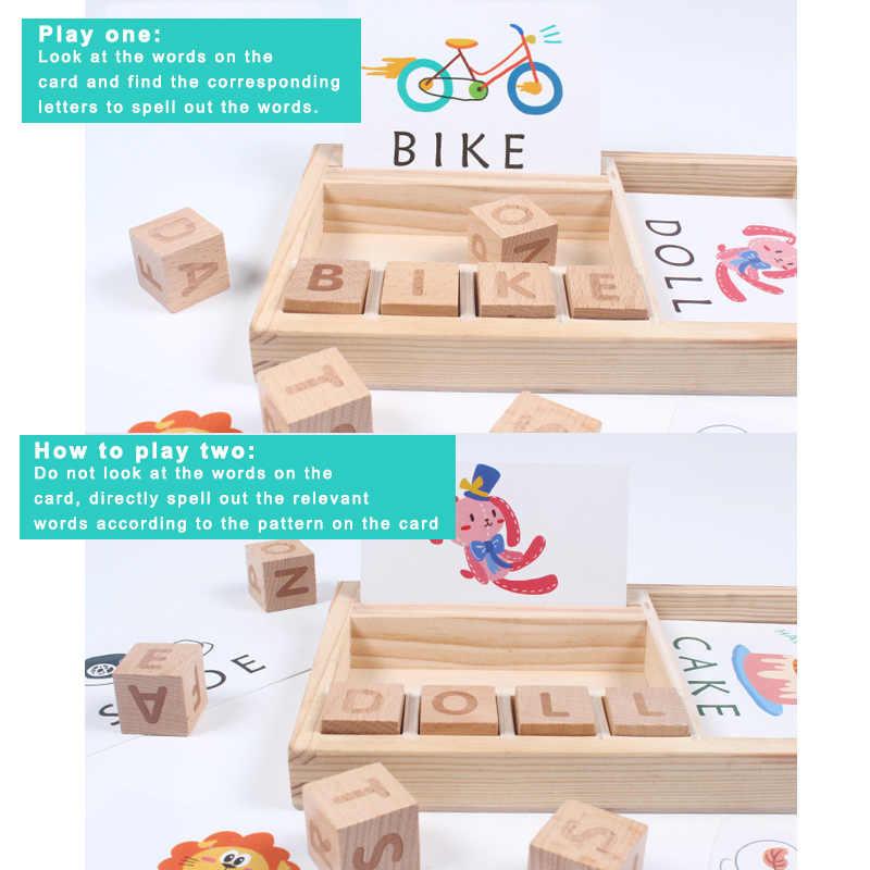 Деревянные паззл с буквами обучающая игрушка в комплекте с буквами Алфавит орфографические карты игры для детей BM88