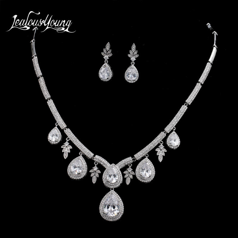 Luxury Water Drop Cubic Zirconia Bridal Jewelry Sets For Women Elegant Flower Earing Necklace Wedding Jewelry Set For Bride a suit of vintage embellished water drop wedding jewelry set for women