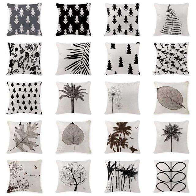 Own Photo Cushion Case Scandinavian Pine Tree Pillow Cover Outdoor Cotton Linen Home Decorating Black White