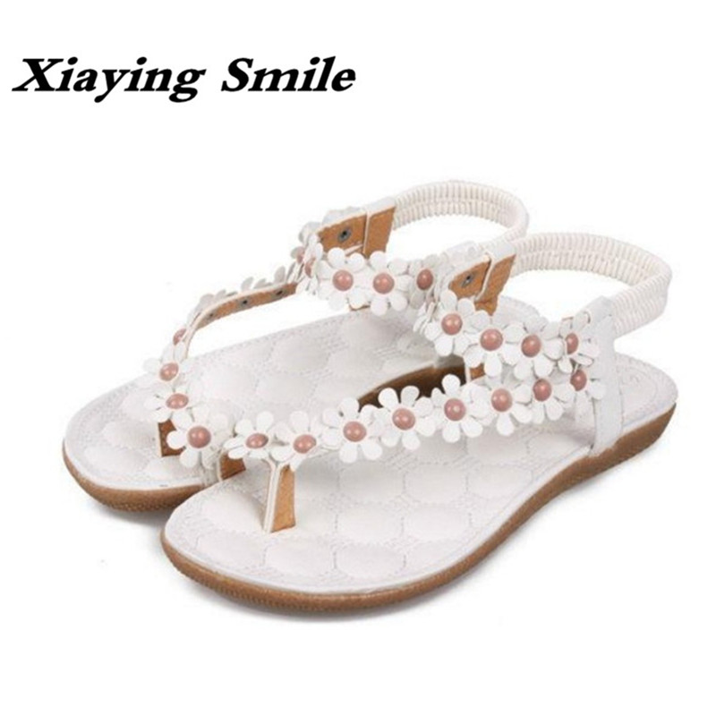 Xiaying Smile New Summer Woman Sandals Casual Fashion Beach Bohemian Style Women Flats Sweet Flowers Slip On Rubber Women Shoes xiaying smile summer woman sandals platform wedges women pumps buckle strap fashion casual flock lady bling crystal women shoes