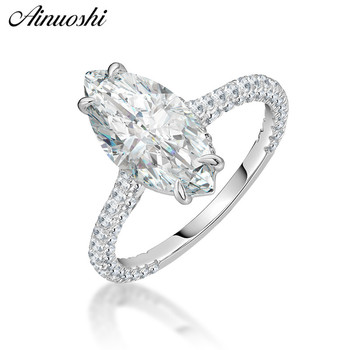AINOUSHI Fashion 925 Sterling Silver Wedding Engagement 3ct Marquise Rings Lady Silver Anniversary Party Ring Jewelry pero llama