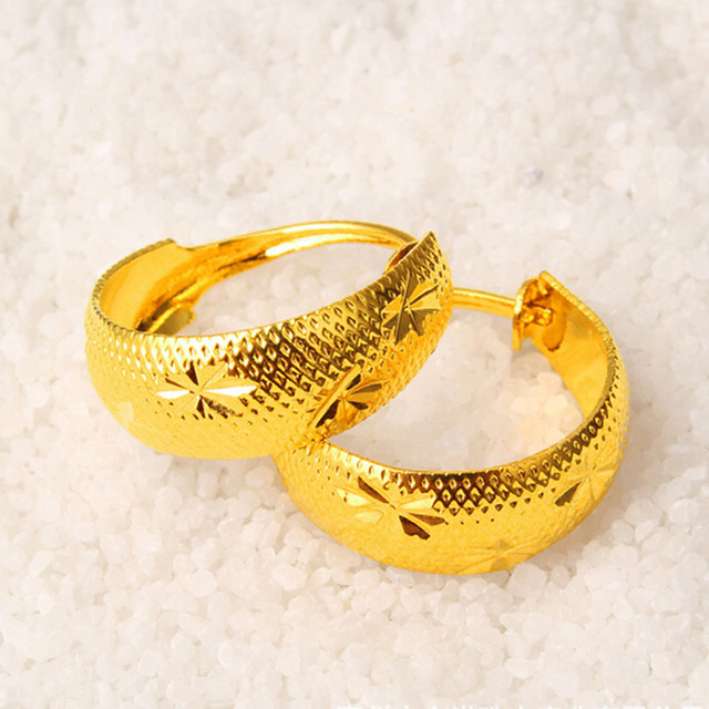 c6c9ce4c2 12X 6Pairs Men Lady Jewellery Imitation 24K Gold Hoop Ear Rings Earrings  Wholesale Free Shipping