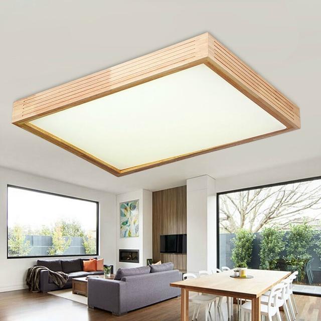 Moderno de madera de roble llevó las luces de techo para comedor ...