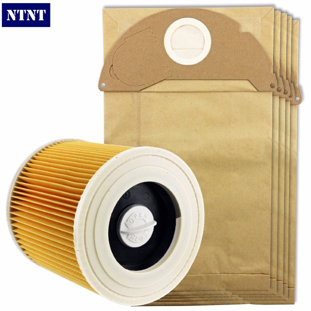 NTNT Free Post New 5 Pcs Bags Dust Bag & 1 Piece Filter Kit for Karcher A2054,A2064 Staubsauger ntnt free post new 15 pcs dust bag and 1x filter kit for karcher vacuum cleaner a2054 a2064 15 bags