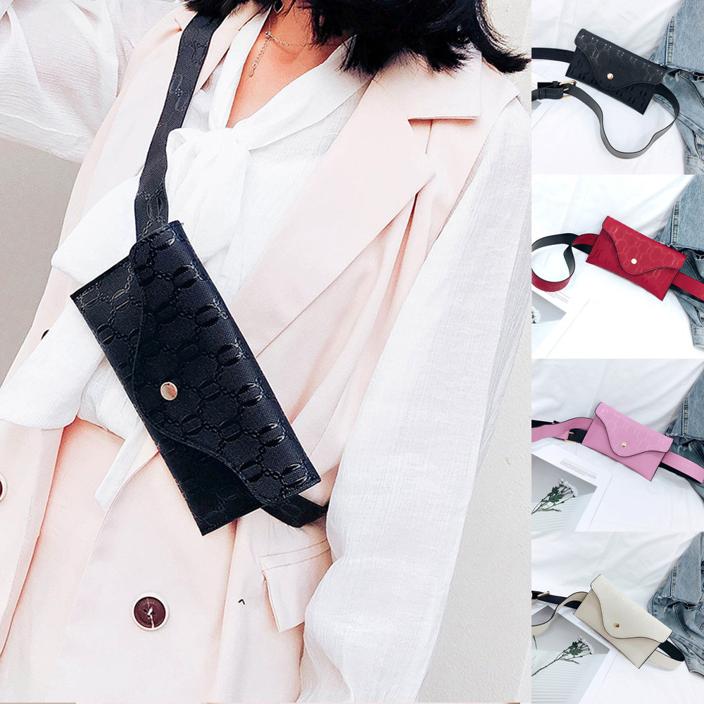 The Fashion Women Pure Color Lines LeaThe r Messenger Shoulder Bag Chest Bag Phone Pocket MAY15