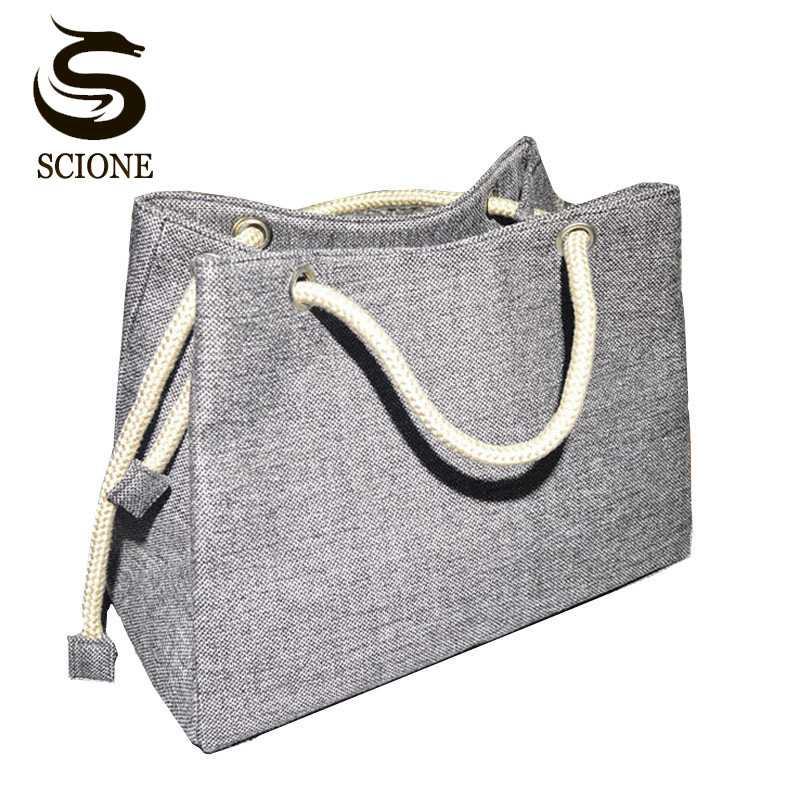 2017 Fashion Women Linen Handbag Large Shopping Tote Holiday Big Basket Bags Summer Beach Bag Woven Beach Shoulder Bag JXY550