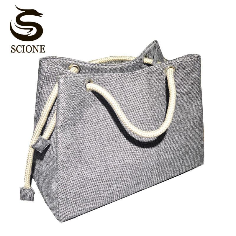 2018 Fashion Women Linen Handbag Large Shopping Tote Holiday Big Basket Bags Summer Beach Bag Woven Beach Shoulder Bag JXY550
