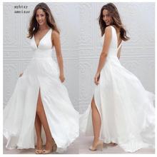 פשוט Boho זול חתונת שמלת חוף 2020 Robe דה Mariee צד פיצול סקסי כלה שמלת שיפון חתונת שמלות ספגטי רצועות