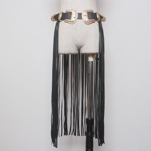Fantastique Longue Frange Ceinture Noir Designer Ceintures pour Femmes Faux Cuir Long Glands Double Or Boucle Ardillon ceinture sur Place à la mode!