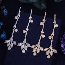 Длинные 69 MM Роскошные листьев цветочная коллекция Цирконий Женщины Свадебные серьги ювелирные изделия дополнение