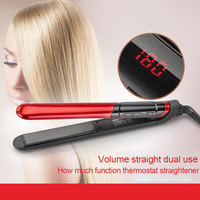 High Quality Ceramic Plates Hair Straighter LED Display Curling Straight Double Use Hair Styling Tool Flat