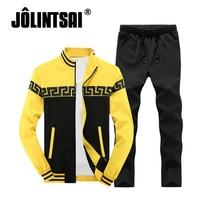 Plus Size 4XL Brand Men S Sportswear Patchwork Tracksuit For Men Stand Collar Sweatshirt Pants Men