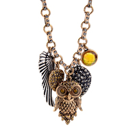 Unique Women Designer Jewellery Sweater Chain Vintage Pendant Necklace Statement Wing Owl Necklace