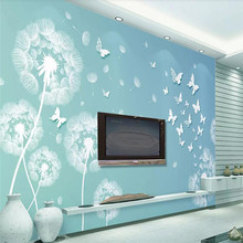 Still simple blue 3d dandelion butterfly TV background wall professional custom mural wallpaper poster photo