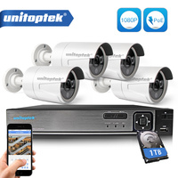 Plug And Play 4CH POE NVR Kit CCTV System 1080P 2MP IP Camera Outdoor IP66 Waterproof