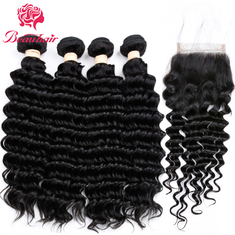 Beauhair Pre-colored Deep Wave Peruvian Human Hair 4 Bundles with 4x4 Free Part Closure 100% Unprocessed Human Hair Weave