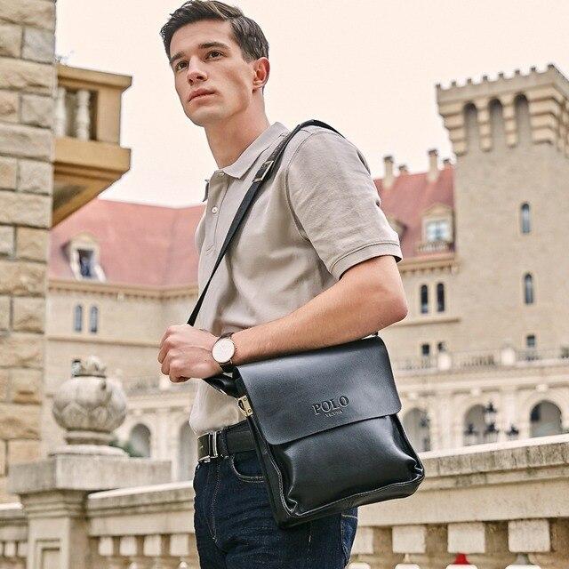 Men Leather Sling Bag Casual Business Leather Mens Messenger Bag Vintage Men's Crossbody Bag 1
