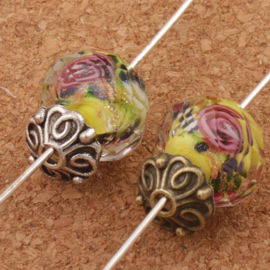 Bali Style Flower Bead Cap Jewelry Findings Components L1042 62pcs 9.2x8.9mm Antique Bronze