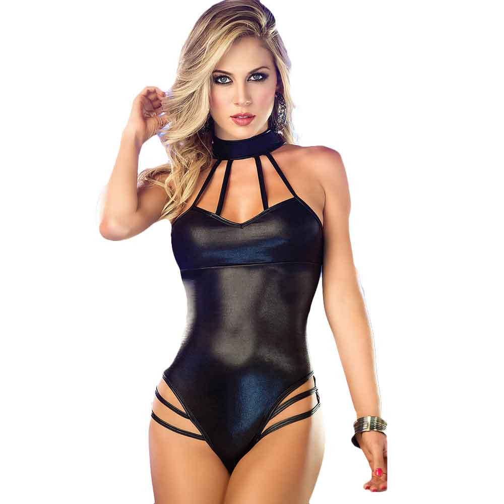 Hot Erotic Lingerie Women Sexy Sleeveless Bodysuits Backless Clubwear Stripper Patent Leather Dress Sexiest Sleepwear Underwear