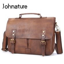 Johnature 2019 New Leather Briefcase Casual Hasp Flap Pocket Soft Handle 12 Inches Mens Business Bag Handbags amp Shoulder Bags cheap Genuine Leather Cow Leather Solid Polyester Single 35cm 1 0kg 11cm 28cm Cell Phone Pocket Interior Zipper Pocket Computer Interlayer