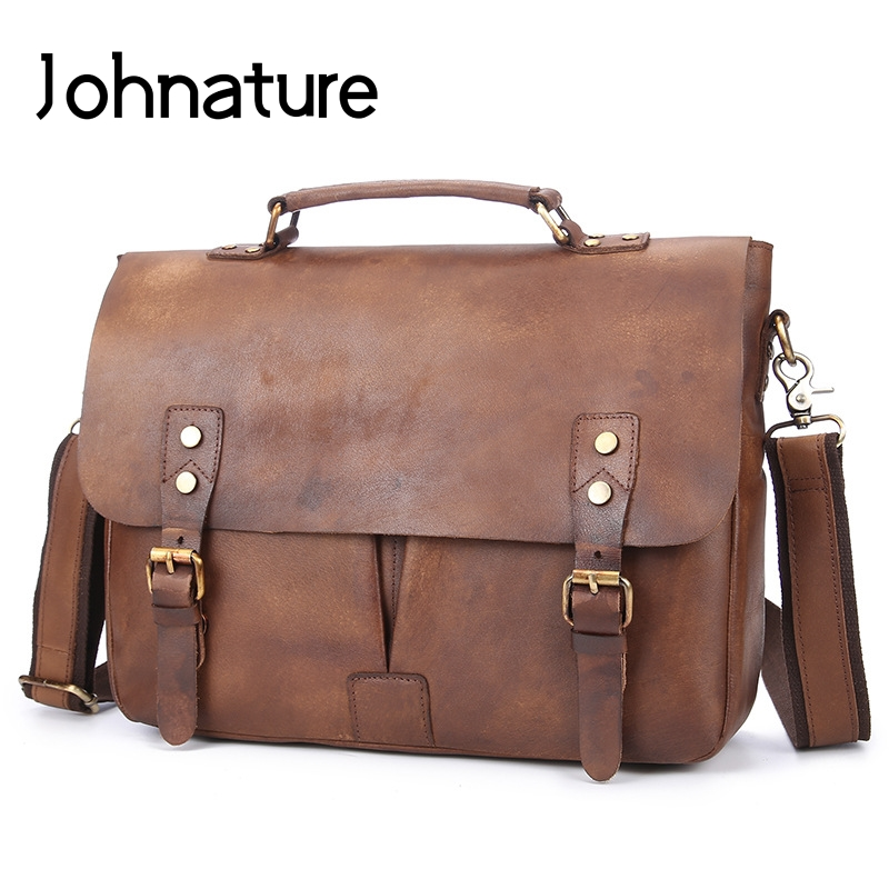 Johnature 2019 New Leather Briefcase Casual Hasp Flap Pocket Soft Handle 12 Inches Mens Business Bag Handbags& Shoulder Bags