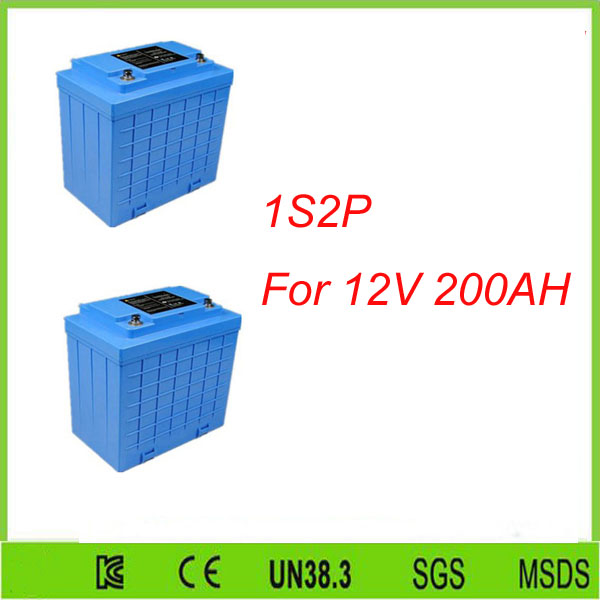 2Pcs 1S2P  Solar energy lifepo4 battery /12v 100ah deep cycle lithium ion battery 12v 100ah For 12V 200AH lifepo4 battery pack free customs taxes and shipping balance scooter home solar system lithium rechargable lifepo4 battery pack 12v 100ah with bms