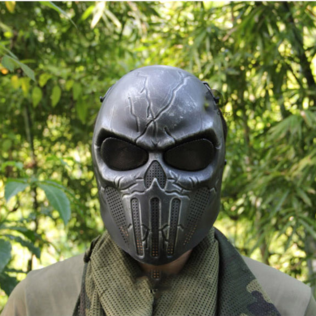 Outdoor Hunting CS War Game Airsoft Mask Skull Skeleton Paintball Full Face Tactical Protection Mask-White Red Black+Silver
