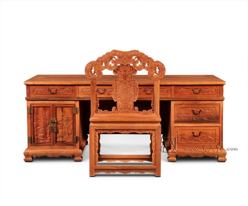 Chinese Style Classic Furniture Rosewood Office Tables Set Living Room Rectangle Desks and backed Armchair set Solid Wood chairs classical rosewood armchair backed china retro antique chair with handrails solid wood living dining room furniture factory set