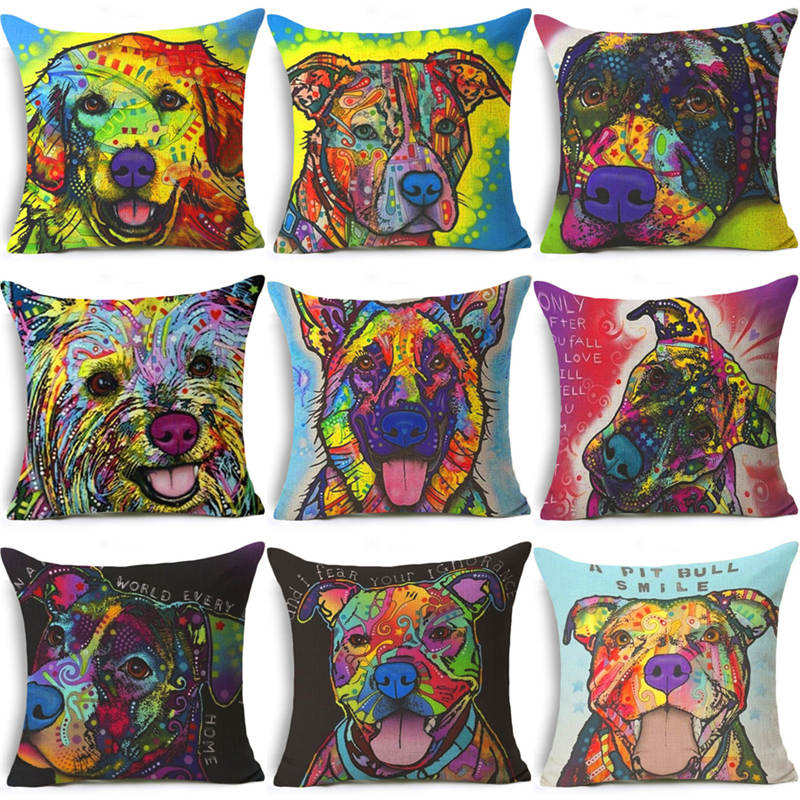 Nordic Colorful Oil Painting dachshund Cushion Cover Cute Dogs & Cats Pillow Cover bull terrier Pillow Case almofadas Home Decor