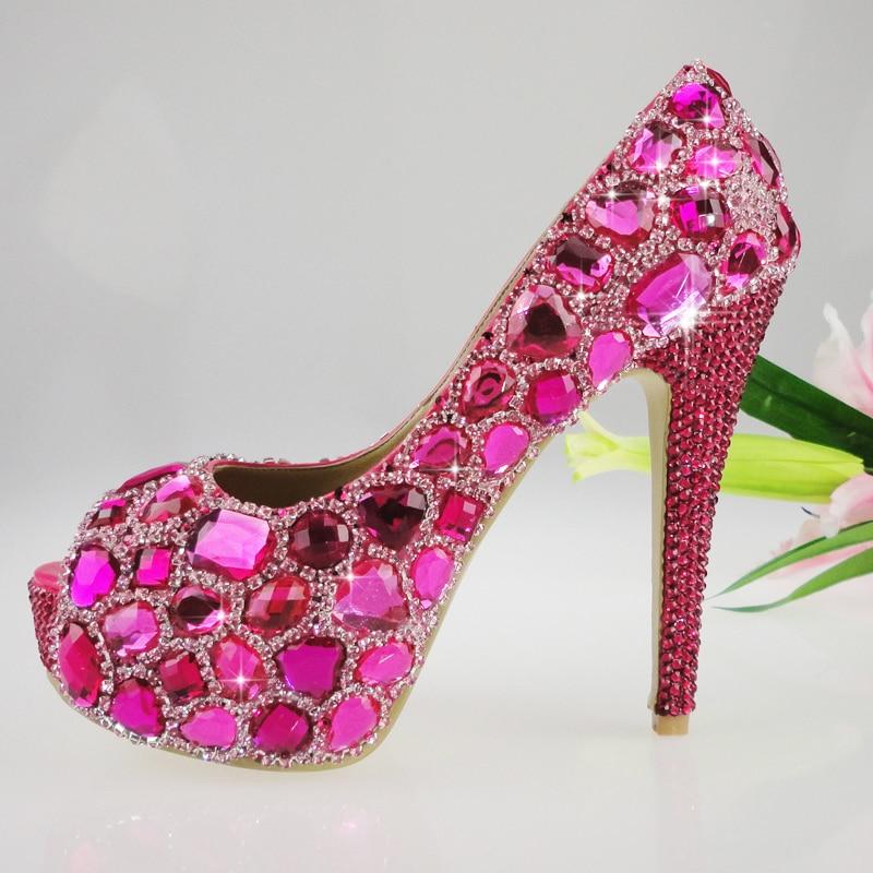 Women s open toe fuchsia wedding shoes high heel platform pumps hotpink  italian shoes and bag-in Women s Pumps from Shoes on Aliexpress.com  d20b1ae2e8